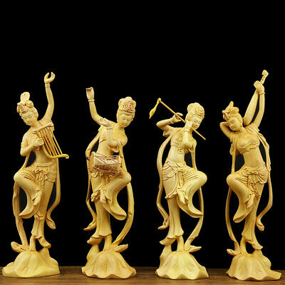 Boxwood Dunhuang Beauties Statue Wood Carving Sculpture Collection Handcarved