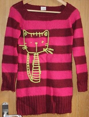 NEXT Girls AGE 9-10 Burgandy and bright Pink stripes Cat stich long and baggy