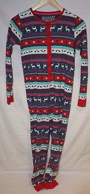 M&S girls all in one pyjamas xmas pattern jump suit red & blue Age 11-12 152cm