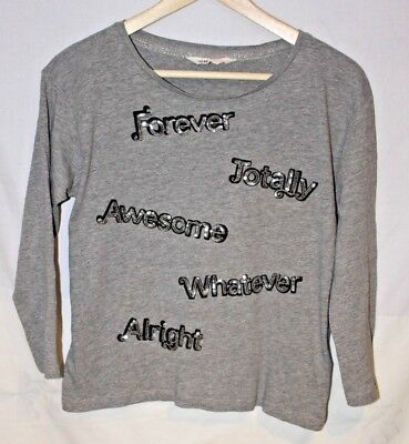 H&M Girls teen AGE 12-14 grey Long Sleeved T-shirt silver sequin words 164cm