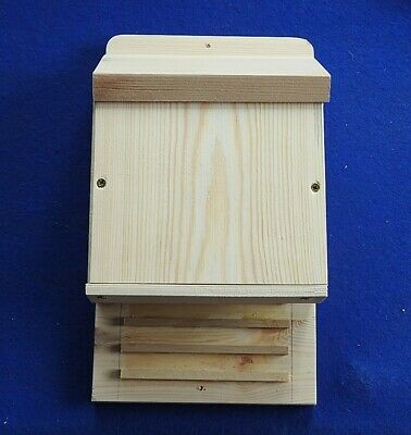 Bat Box Shelter / Home For Wild Bats Recycled Pine Wooden House Go Under Eaves