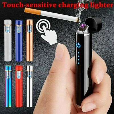 Mini Windproof Electric Cigarette Lighter Touch Sensor USB Rechargeable Flameles