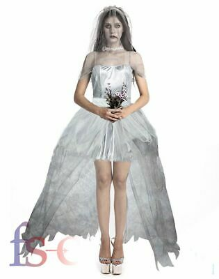 Halloween Ghost Bride Costume Adult Zombie Fancy Dead Female Corpse Cosplay