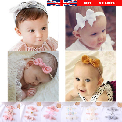 3Pcs/Set Baby Headband Flower Bows Girl Newborn Elastic Baby Headband Turban
