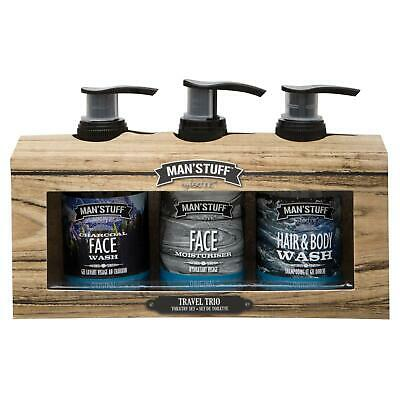 Man'Stuff Mens Toiletries Gift Set Travel Trio Male Grooming Charcoal Face Wash