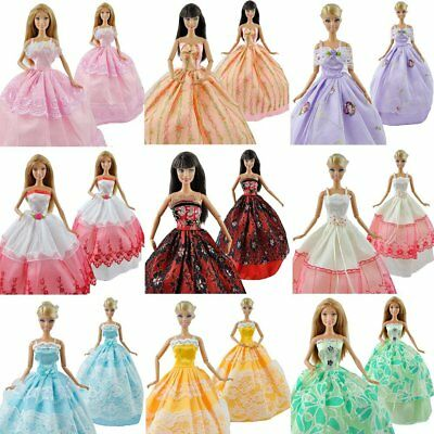 5x Handmade Ball Gowns Wedding Dresses & 10x Shoes Made for Barbie sized Dolls