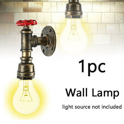 Vintage Industrial Retro Iron Water Pipe Shape Wall Lamp Sconce Light Fixture
