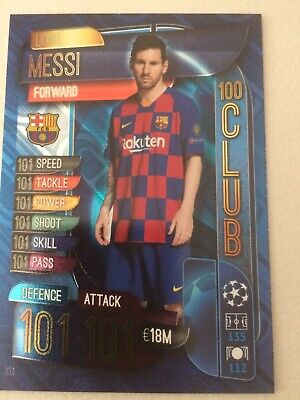 Match Attax 2019/20 19/20 Lionel Messi 100 Club Trading Card - Fc Barcelona #331