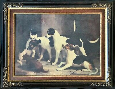 BEAUTIFUL ANTIQUE 19th CENTURY HUNTING GAME DOGS OIL ON CANVAS PAINTING REVIVAL
