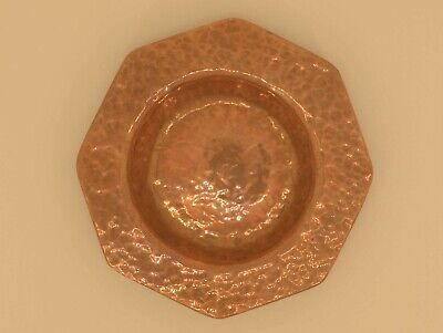 Signed Arts and Crafts Handmade Hammered Copper Dish