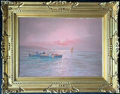 IMPECCABLE LARGE ORIGINAL 20thc CONTINENTAL SUNSET FISHING SEASCAPE OIL PAINTING