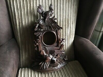 Victorian ? Black Forest mantle clock Cockerel Chickens oak chip carved treen