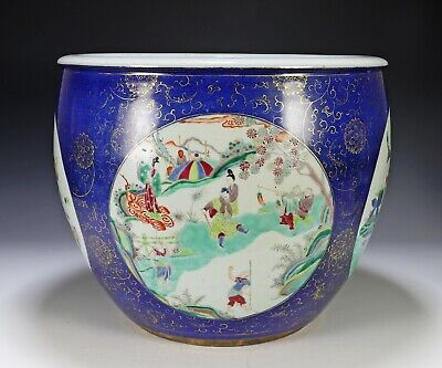 Large Antique Chinese Porcelain Planter Bowl with Colorful Scenes on Powder Blue