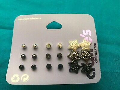 Nine Pairs Of Claire's Stud Rhinestone And Star Earrings Mill