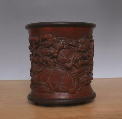 Shenqian Signed Antique Chinese Carved Figures Bamboo Brush Pot