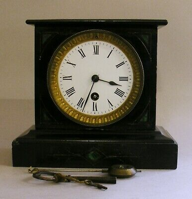 Small French Mantel Clock 8 day Timepiece Working late 19th C Two Keys Pendulum