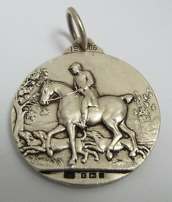 Beautiful Large English Antique 1906 Solid Sterling Silver Horse Hunting Medal