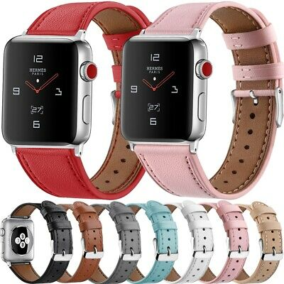 For Apple Watch Series 5 4 3 2 1 Luxury Genuine Leather iWatch Band Wrist Strap