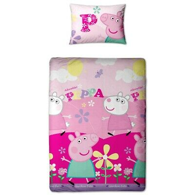 Peppa Pig 'ADORABLE' Reversible Single Duvet Cover and Pillow Case