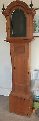 Longcase grandfather clock case pine with brass finials