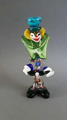 Vintage 1970's Murano Glass Clown Playing Guitar Green Bow Blue Hat 26cm High