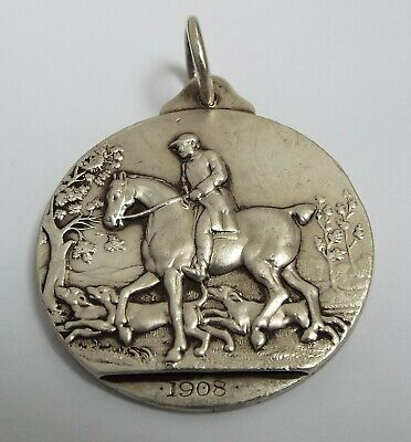 STUNNING LARGE ENGLISH ANTIQUE c.1908 SOLID STERLING SILVER HORSE HUNTING MEDAL