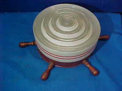 1950s NAUTICAL Design SHIPS WHEEL w RED + WHITE Glass CEILING LIGHT Fixture