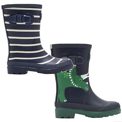 Joules Print Welly Kids Full Height Waterproof Boot Boys Reflective Wellington