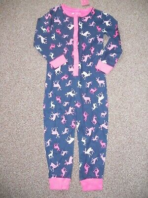 Girls Primark all in one  suit pink/navy BNWT  3-4 years  reindeer Christmas