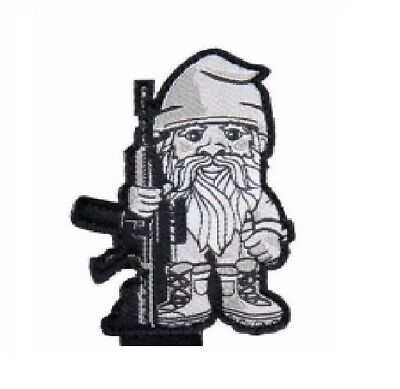 BuckUp Tactical Morale Patch VELCRO® BRAND Hook Gnome Rifle Black 2.5""