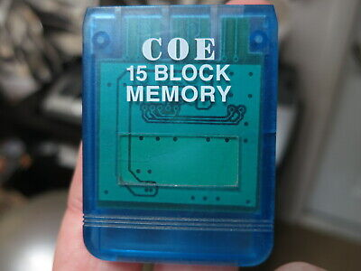 Playstation 1 clear blue Memory Card used, formatted and tested working PS1 PSX