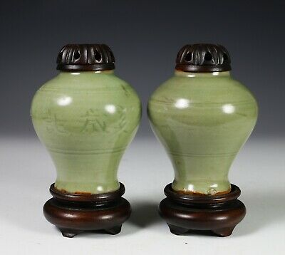 Pair of Antique Chinese Celadon Glased Jars with Wood Stands - Ming Dynasty