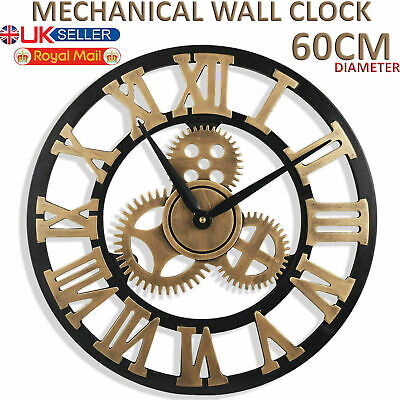 60CM Large Metal Roman Numerals Numeral Wall Clock Round Big Open Face Garden UK