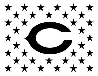 "Chicago Bears Flag Star 11"" x 8.5"" Custom Stencil FAST FREE SHIPPING"