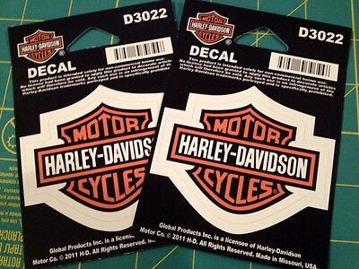 (2) Harley Davidson Bar & Shield Decal Sticker Window Small