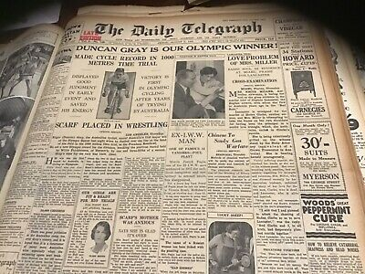 Old August 5 1932 Newspaper Duncan Cray olympic games rugby league Arnotts ad