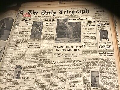 Old August 12 1932 Newspaper Boy Charlton  olympic games  movie ads Arnotts