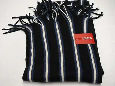 Mens Izod Black Blue Cream Striped Fringed Scarf Winter New #16821
