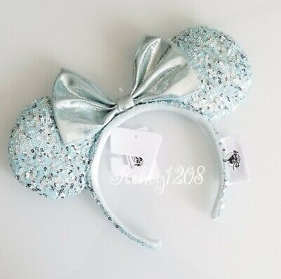 Disney Parks Blue Frozen Arendelle Aqua Minnie Mouse Ears Sequin Headband NEW