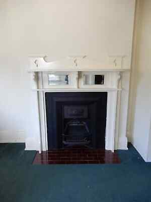 TIMBER MIRRORED MANTEL & CAST IRON FIREPLACE, White, now removed, 1s