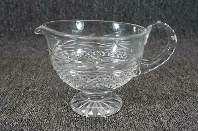 """4 3/4"""" Pressed Glass Crystal Footed Pitcher Diamond Pattern"""