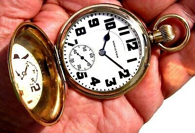 Antique 16 Size Gold Filled 21 Jewels RAILROAD Pocket Watch Hamilton 992 Working