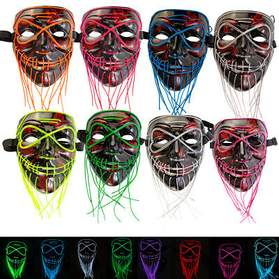 Halloween Light Up Stitches LED Mask Costume Rave Cosplay Party Tailorable Beard