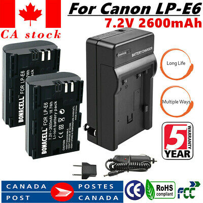 2x LP-E6 LPE6 Battery+USB Charger For Canon EOS 5DS 5D Mark II Mark III 6D 7D UB