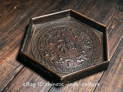 """14"""" Old Chinese Huanghuali Wood Carving Fu Word Gourd Dish Plate Salver Tray"""