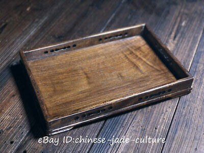 """13"""" Chinese 1960s Old Huanghuali Wood Carving Wine Tea Dish Tray Plate Salver"""