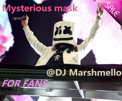 DJ-MarshMello LED Mask Halloween Full Head Helmet Easter Cosplay Bar Music Prop