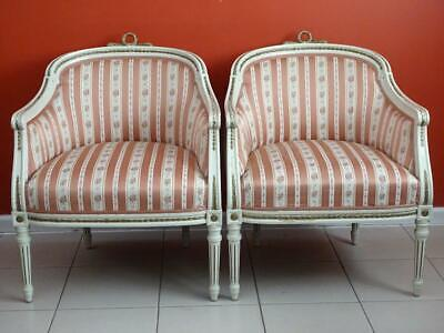 Antique Vintage French Louis XVI Office Bed Dining Room  Armchairs Set of 2