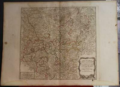 Upper & Lower Rhine Germany 1797 Vaugondy & Delamarche Antique Engraved Map