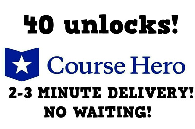 Course Hero Account Access w/ 40 Unlocks - INSTANT DELIVERY TO EMAIL 24/7!!